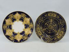 A high quality Royal Worcester cabinet plate of cobalt blue ground and all over gilded design,