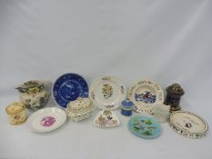 A collection of 19th Century ceramics including two baby plates.