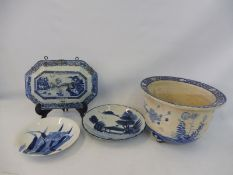 A selection of mostly 18th/19th Century Chinese blue and white ceramics including a jardinaire etc.