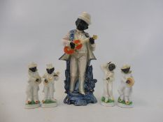 A late 19th/early 20th Century porcelain standing figure of a gentleman playing an instrument 8 1/2""