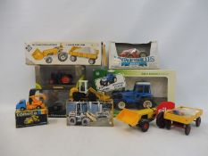 A selection of boxed agricultural tractors, different scales and models to include Siku, Tomica