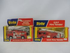 Two circa 1970s Dinky fire engines, the ERF fire tender and the Merryweather Marquis, boxes
