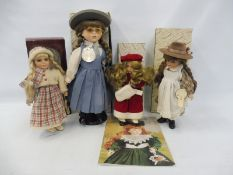 A quantity of Alberon collectors' porcelain dolls on stands, plus a catalogue of Alberon dolls dated