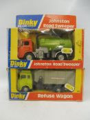 Two circa 1970s Dinky Toys, a Refuse Wagon and a Johnson Road Sweeper, boxes generally good.