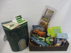 A box of TV related action figures including Buzz Lightyear, Teenage Mutant Ninja Turtles etc.