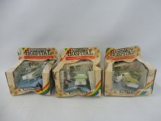 Britains Hospital - three sets, boxes poor condition, figures and accessories appear excellent.