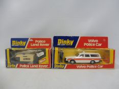 Two circa 1970s Dinky Toys, Police Landrover and the Volvo Police car with accessories, boxes