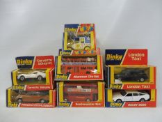 Seven boxed Dinky Toys, to include London Taxi, Corvette Stingray, Routemaster bus, Princess