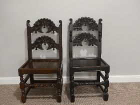 A near matched pair of 17thC oak Side Chairs, Yorkshire/Derbyshire style with an arched top rail and