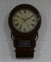 Local Interst; A late Victorian in-laid mahogany Wall Clock, the white painted dial with Roman