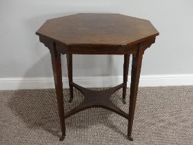An Edwardian inlaid rosewood octagonal Occasional Table, with four square tapering supports united