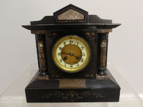 A Victorian slate and marble Mantle Clock, with presentation inscription dated 1891, 12in (30cm)