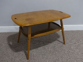 A mid 20thC Ercol beach and elm Tray Table, Model 457, the rounded rectangular tray top with two cut