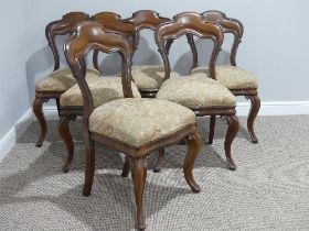 A set of six Victorian mahogany Dining Chairs, with cabriole legs, 20in (50cm) wide, 34in (87cm)