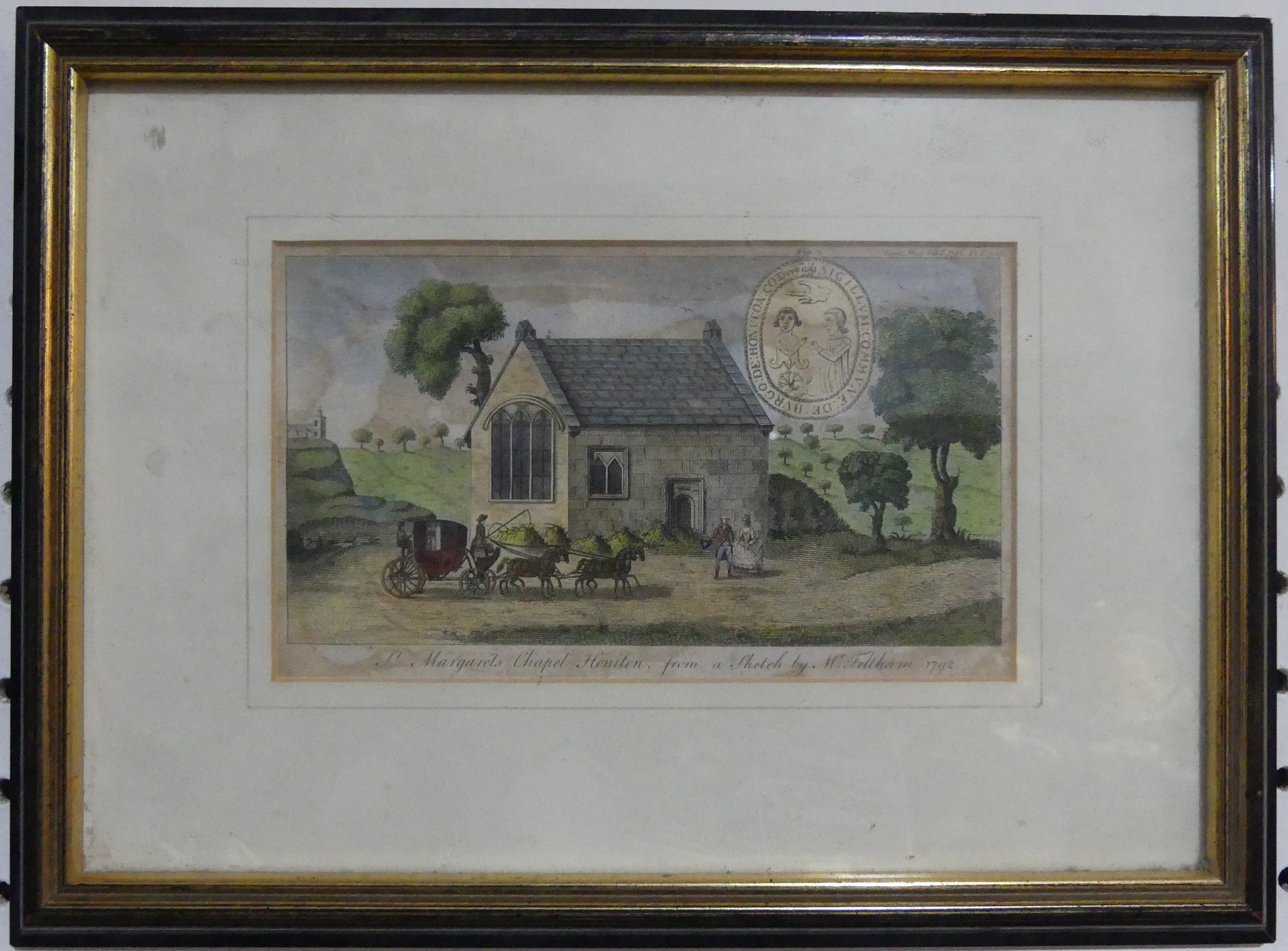 Honiton interest: an antiquarian print of 'St Margaret's Chapel Honiton, from a sketch by Mr