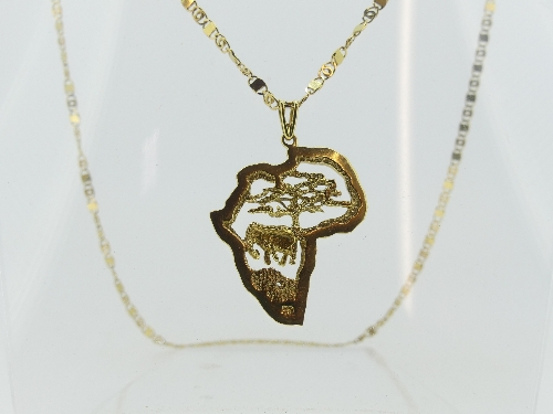 An 18ct yellow gold Pendant, pierced in the outline of the African Continent, with an elephant and - Image 2 of 2