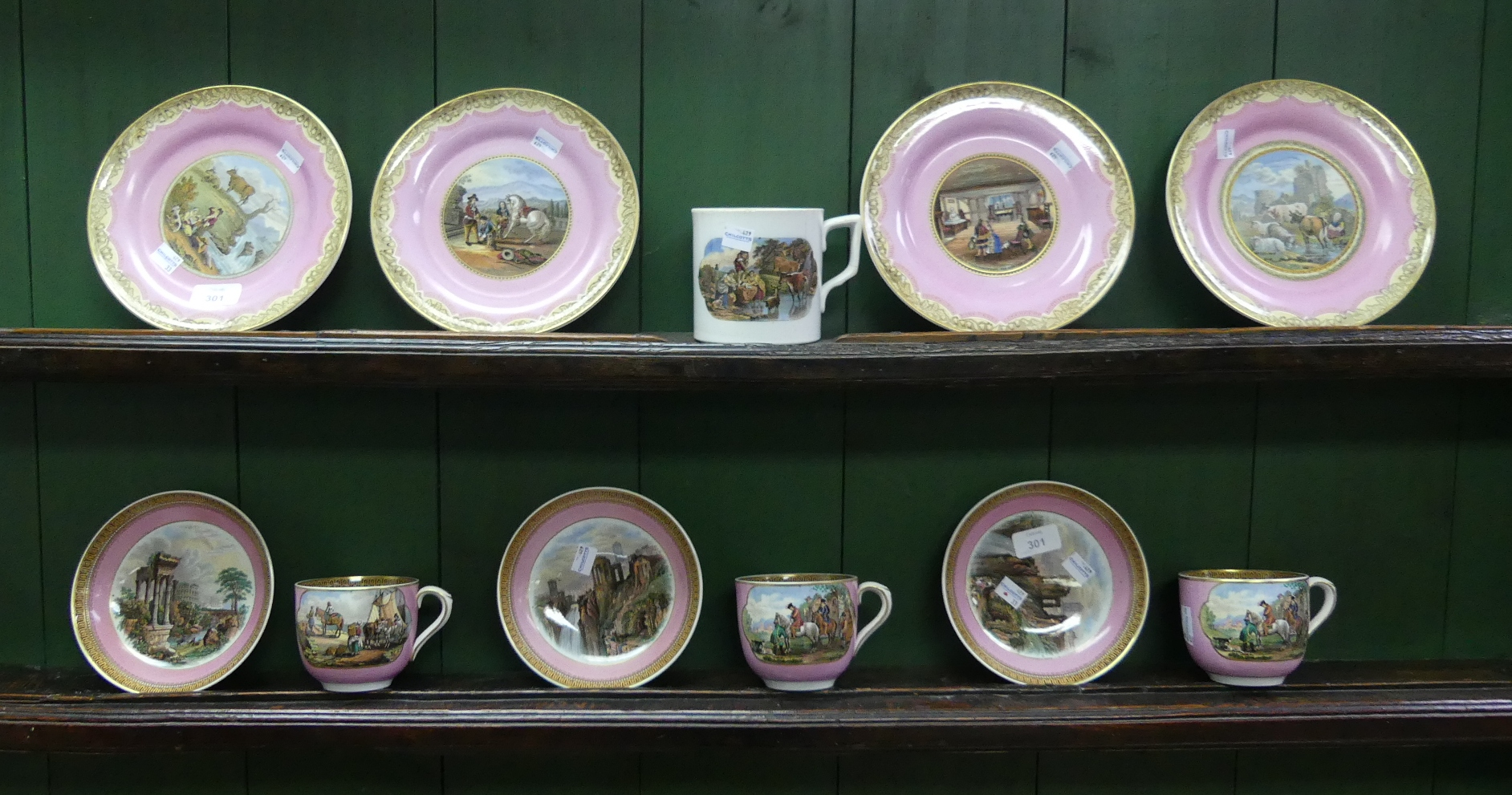 A quantity of 19thC Pratt Ware, comprising three Cups and three Bowls, in identical transfer printed