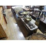 Vintage pine Bench or Form, 116in (295cm) wide.