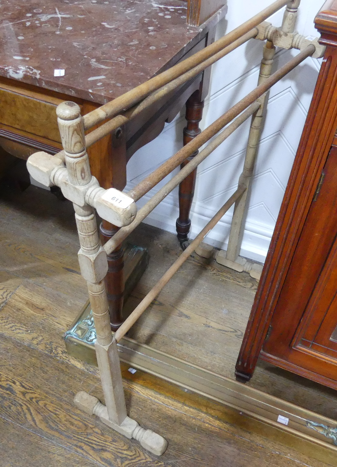 An Edwardian burr walnut mable-topped Washstand, the marble top above one central drawer, raised - Image 3 of 3