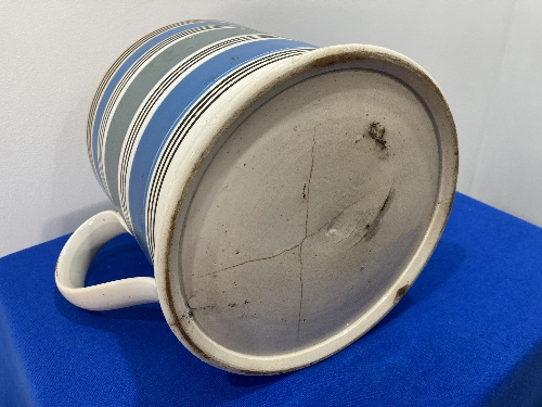 A large late 19thC Staffordshire pottery Mug, with banded decoration, 8in (20cm) high, firing cracks - Image 5 of 9