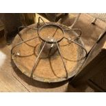 A vintage cast iron circular Pig Trough, of 'Mexican Hat' form with eight dividers, 30in (76cm)