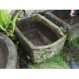 An antique stoneware rectangular Trough, 30in long x 22in wide (76cm x 56cm). Note; This lot can