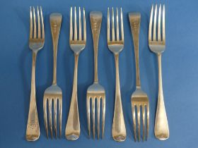 A collection of seven 19thC silver Forks, all Old English pattern, including three Victorian, by