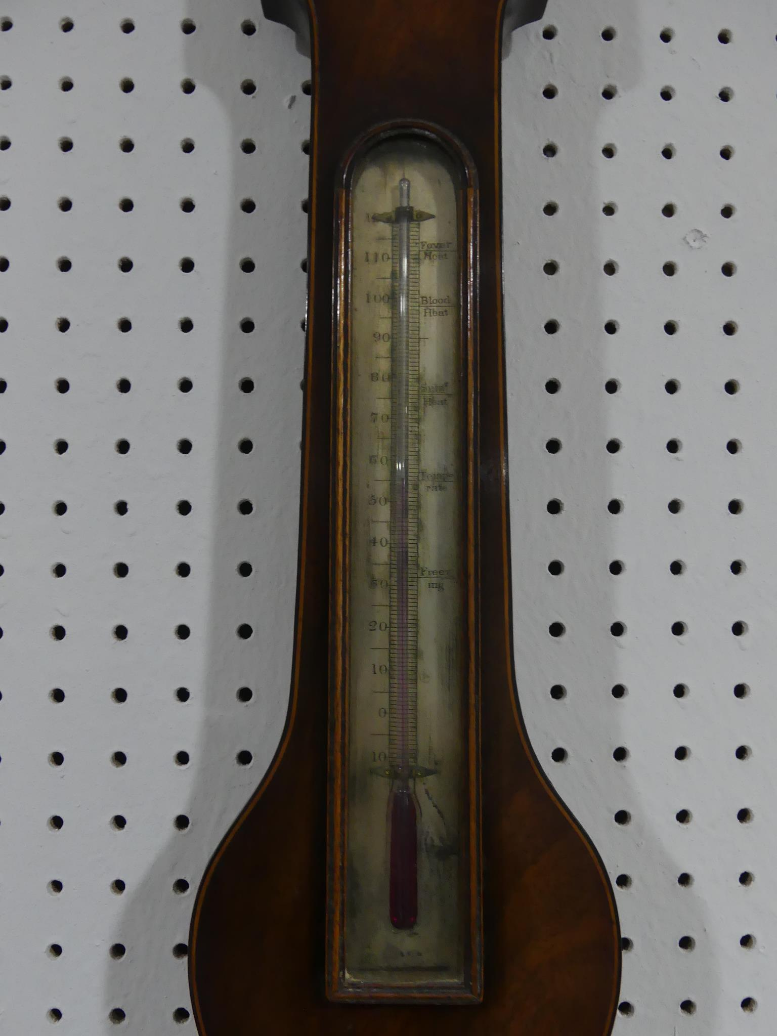 An early 19thC mahogany wheel Barometer, signed P Nolfi, Taunton with a circular silvered dial, - Image 3 of 4