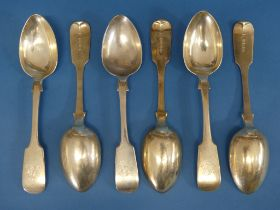A set of six Victorian silver Spoons, by Josiah Williams & Co., hallmarked Exeter, 1855, fiddle