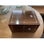 A late Victorian mahogany fitted Jewellery Box, with boxwood stringing and mother of pearl inlay,
