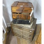 A vintage 'Egg Hatching' Crate, the wooden slatted structure stamped with 'LYDDITE CHICKS