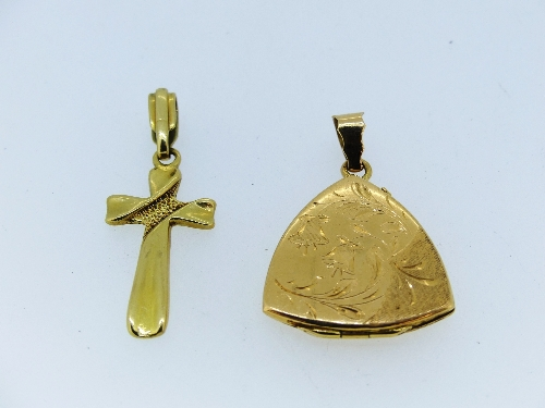 An 18ct yellow gold Cross Pendant, together with an 18ct yellow gold triangular shaped hinged