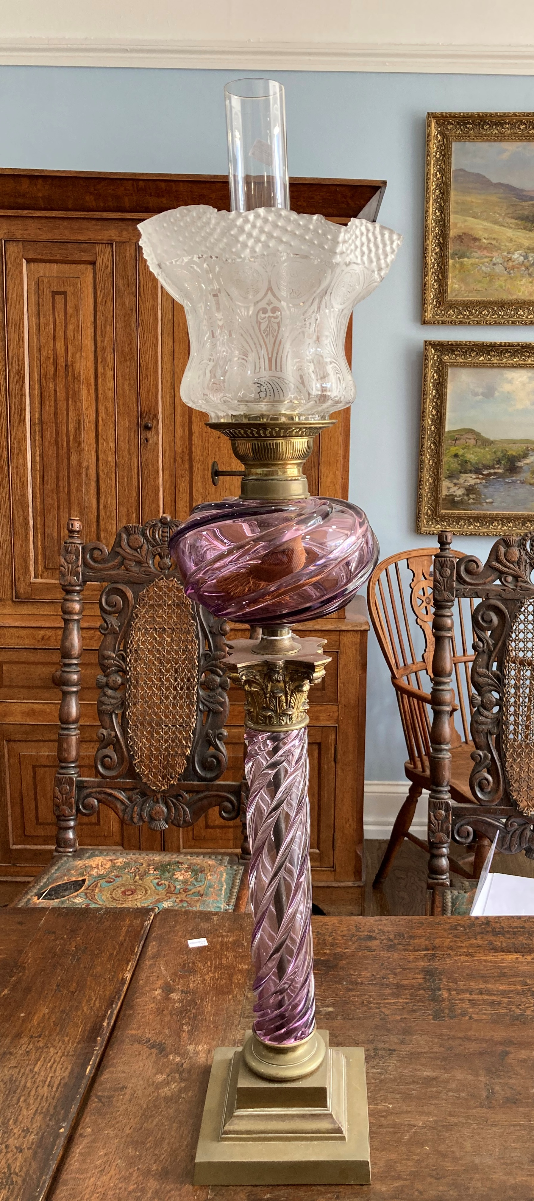 A Victorian purple glass and gilt brass Corinthian column Oil Lamp, the purple glass spiral twist - Image 2 of 6