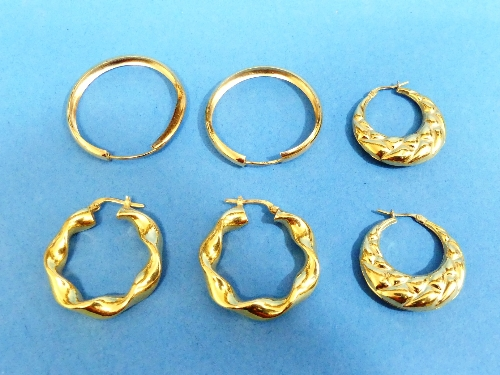 Three pairs of 18ct yellow gold hollow hoop Earrings, approx total weight 14.9g (3)