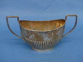 A George V silver two handled Sugar Bowl, by Joseph Gloster Ltd., hallmarked Birmingham, 1932, of