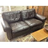 A retro-style leather Two Seater Sofa, by John Lewis, in brown leather upholstery with scrolled arms