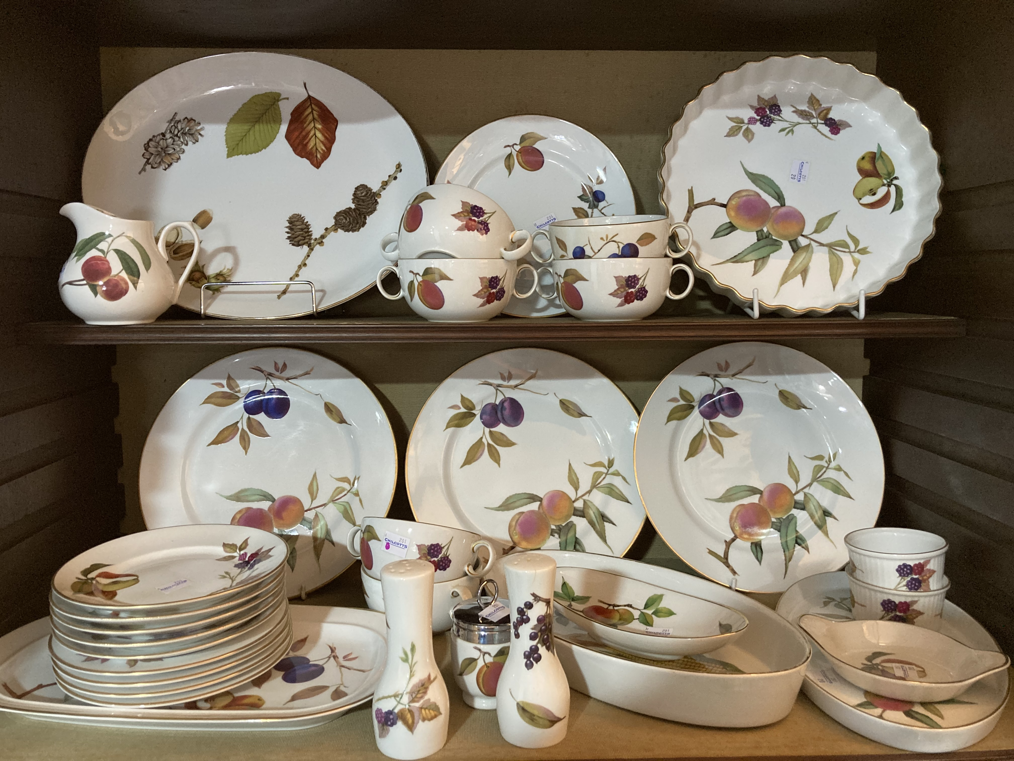 An extensive Royal Worcester 'Evesham' pattern Dinner and Tea Service, to include, tureens, gravy