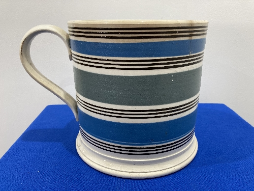 A large late 19thC Staffordshire pottery Mug, with banded decoration, 8in (20cm) high, firing cracks - Image 3 of 9