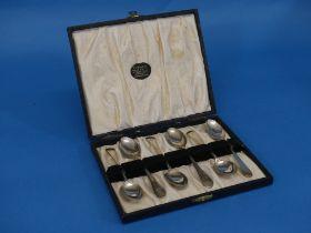 Masonic Interest; A cased set of six Elizabeth II silver Teaspoons, hallmarked Sheffield, 1968,