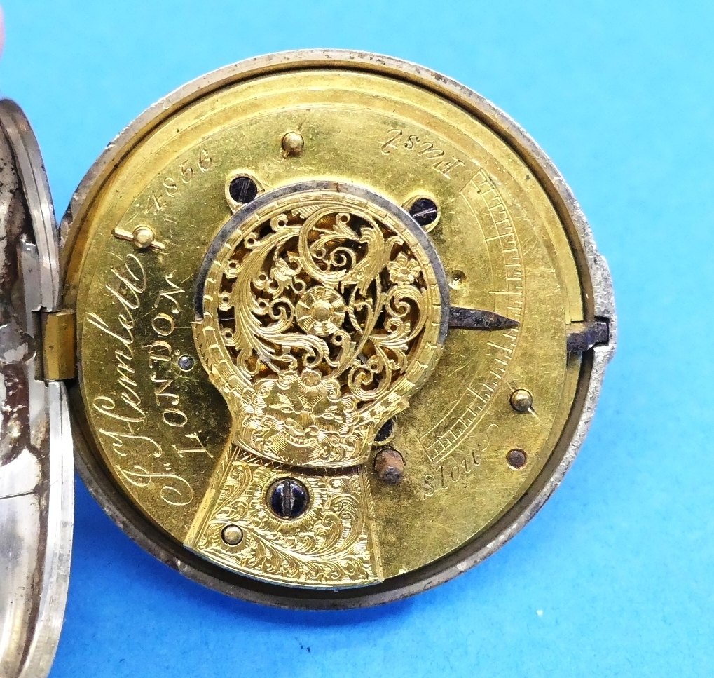 A George IV silver pair-cased fusee Pocket Watch, both cases hallmarked London, 1834, the white - Image 4 of 4