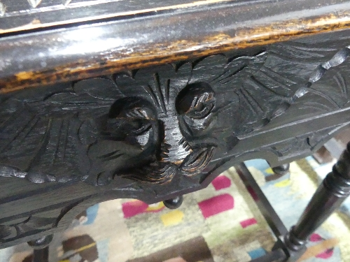 A late 19thC stained oak Side Table, with heavily carved top upon central drawer boasting Green - Image 2 of 2