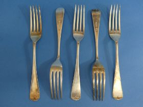 A set of five George VI silver Forks, by Roberts & Belk Ltd., hallmarked Sheffield, 1944, Old