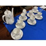 A Royal Adderley 'Silver Rose' pattern part Coffee Service, comprising seven Coffee Cans and
