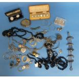 A collection of Silver and Costume Jewellery, including a New Zealand jade pendant, abalone shell