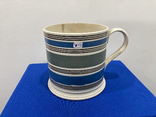 A large late 19thC Staffordshire pottery Mug, with banded decoration, 8in (20cm) high, firing cracks - Image 2 of 9
