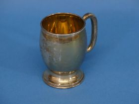 A George V silver Christening Mug, hallmarked Birmingham, 1927, of circular form with plain ring