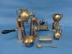 A quantity of Silver Plate, including a cafe-au-lait set, a bachelor tea set, various flatware,