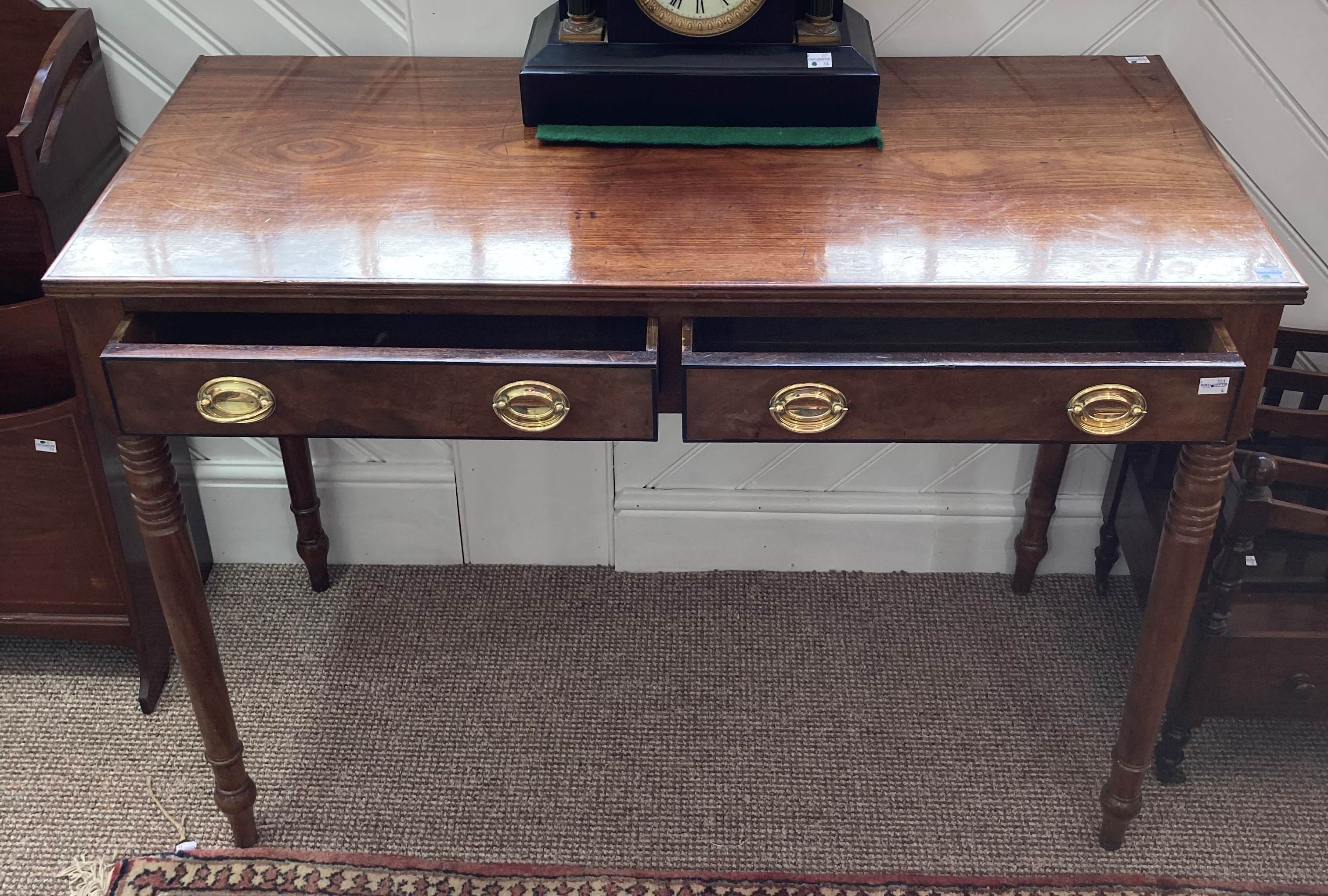 A 19th century mahogany Side Table, the rectangular top with reeded edge above to frieze drawers, on - Image 2 of 2