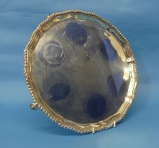 A George V silver Salver, by Wakely & Wheeler, hallmarked London, 1917, of shaped circular form with
