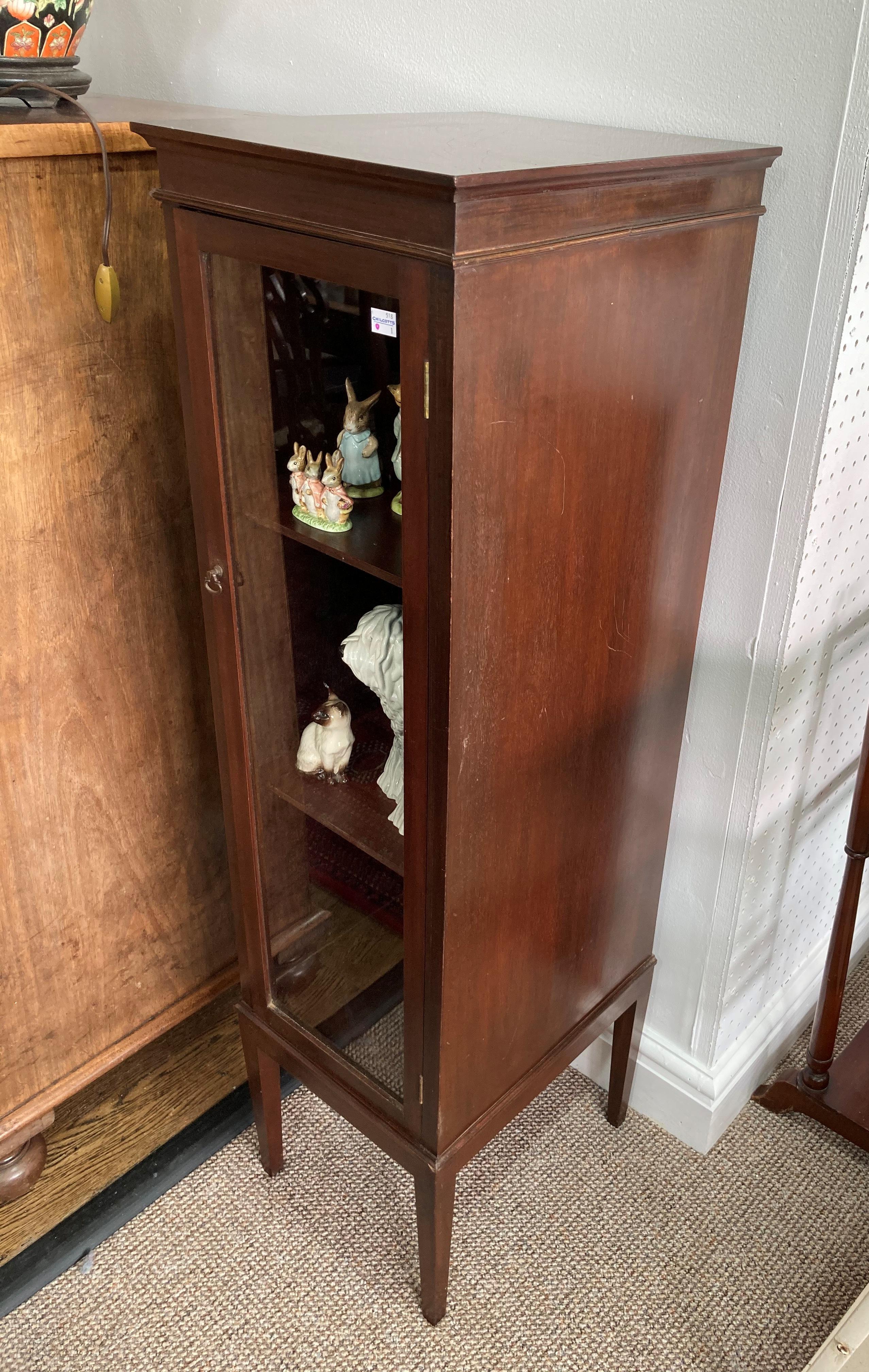 An Edwardian mahogany glazed Cabinet, the glazed door enclosing three shelves, raised on square - Image 2 of 3